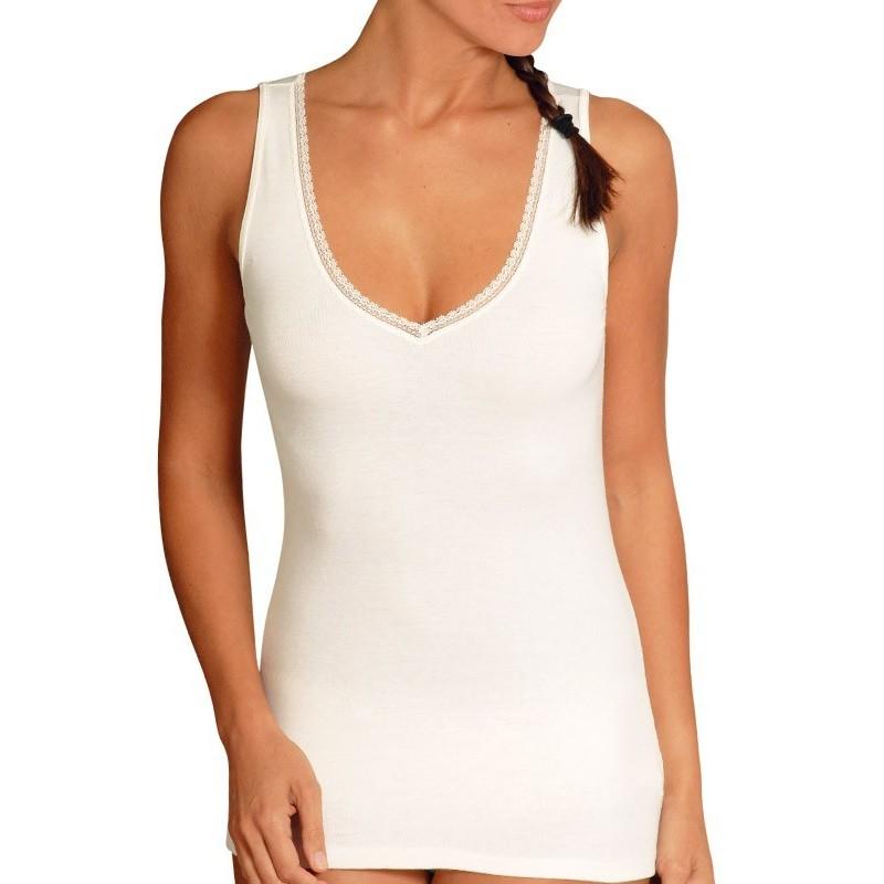 Tee-shirt sans manches col V - Laine/Coton/Viscose