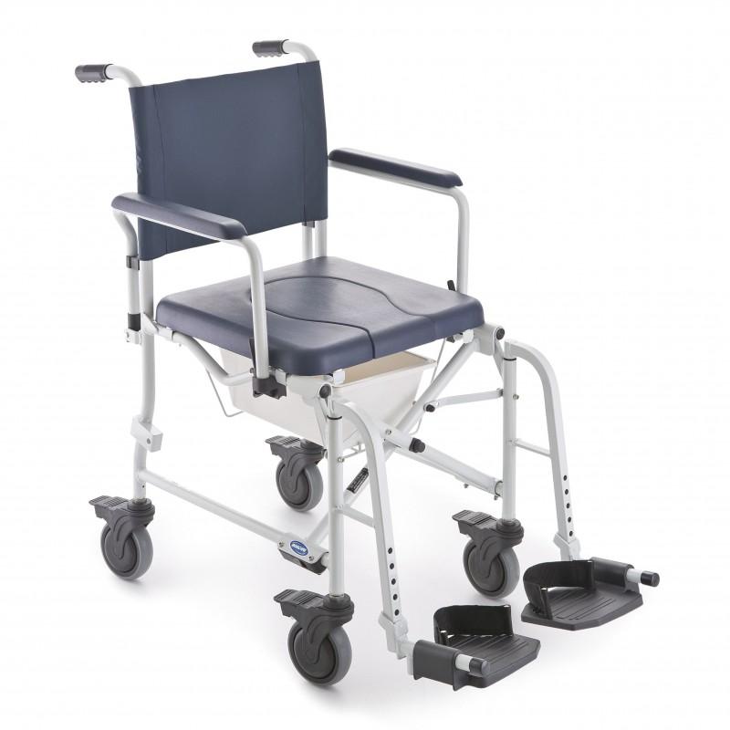 Chaise de douche mobile pliante avec accoudoirs et repose-pieds escamotables Invacare Lima