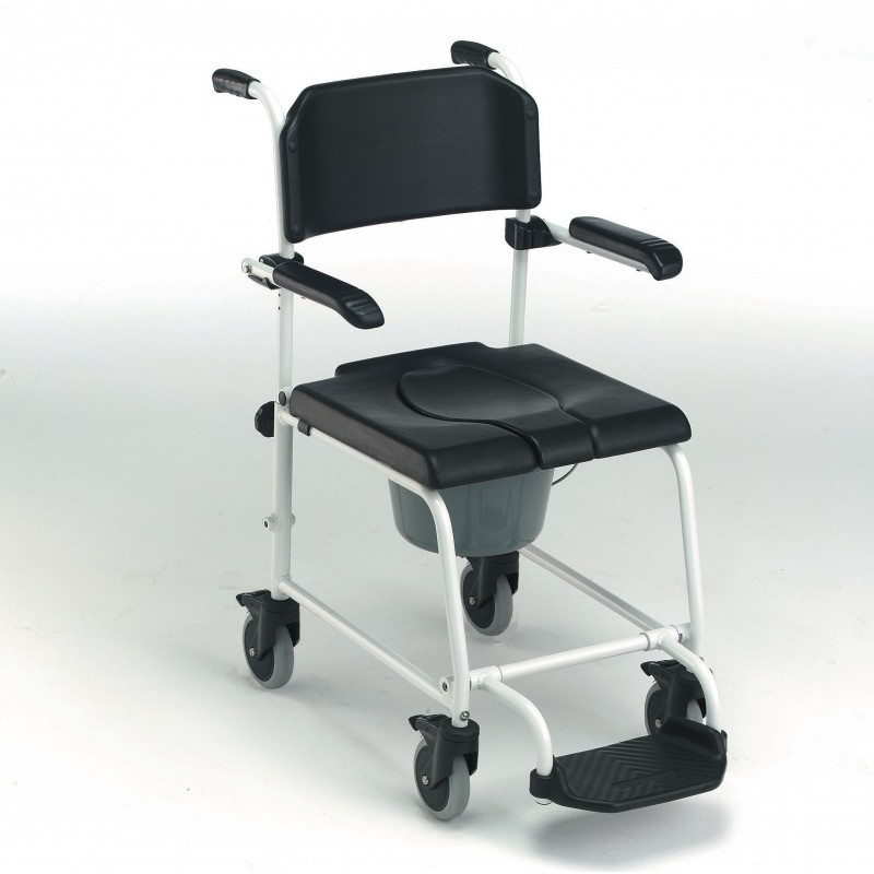 Chaise de douche mobile avec accoudoirs et repose-pieds relevables Invacare Cascade