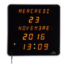 Horloge Ephemeris Noir Jaune-Jour-Date-Année-Heure-Minute(28x28cm)