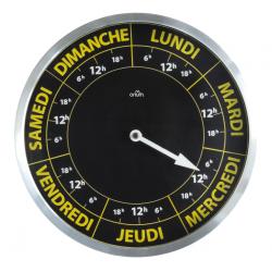 Horloge 7 jours Noir Jaune, Ø 30cm