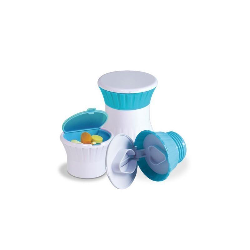 Brise pilule 3 en 1 : range, coupe, écrase-comprimé Hestec - 1