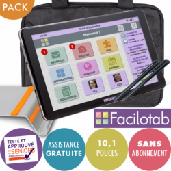 Pack tablette Facilotab L 10,1 pouces WiFi/3G+ - 32 Go - Support + Sacoche + 2 stylets