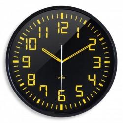 Horlogue analogique cadran noir et chiffres jaunes, dia 30cm
