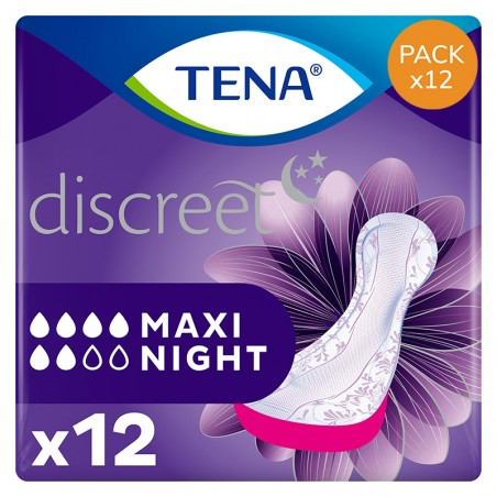 Protection urinaire femme - TENA Discreet Maxi Night - Pack de 12 sachets