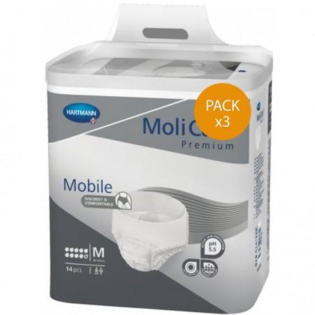Slip Absorbant / Pants - MoliCare Mobile - M  -10 gouttes - Pack de 3 sachets