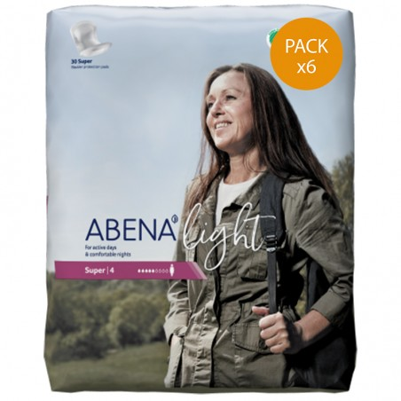 Protection urinaire femme - Abena Light Super n°4 - Pack de 6 sachets