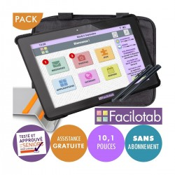 Pack Tablette Facilotab renforcée L Onyx - WiFi/4G - 32 Go - Android 10 - 10,1 pouces+ Support + Sacoche + 2 Stylets Facilotab -