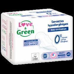 Love & Green - Serviettes Hygiénique Ecologiques Ultra NUIT Love & Green - 1