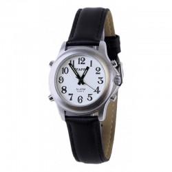 Montre Parlante - Date/Heure - Bracelet Cuir Noir