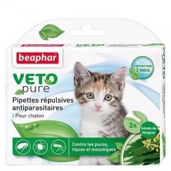 Pipettes répulsives antiparasitaires Veto Pur de Béaphar pour chaton