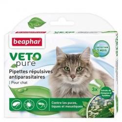 Pipettes répulsives antiparasitaires Veto Pure de Béaphar pour  chat